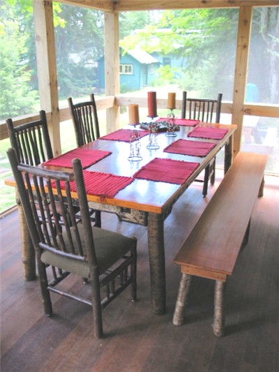 dining table Adirondack Lake Placid New York                 vacation waterfront lakefront rental property house home                 camp