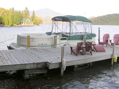 dock Adirondack Lake Placid New                     York vacation waterfront lakefront rental property                     house home camp
