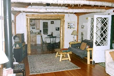 View from Living room to kitchen Adirondack Lake                 Placid New York vacation waterfront lakefront rental                 property house home camp