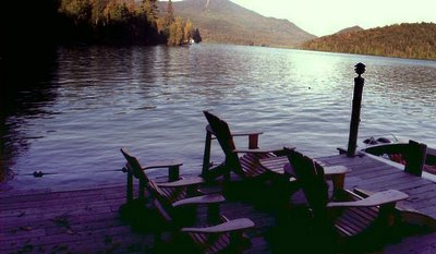 Whiteface from the dock Adirondack Lake Placid New                 York vacation waterfront lakefront rental property house                 home camp